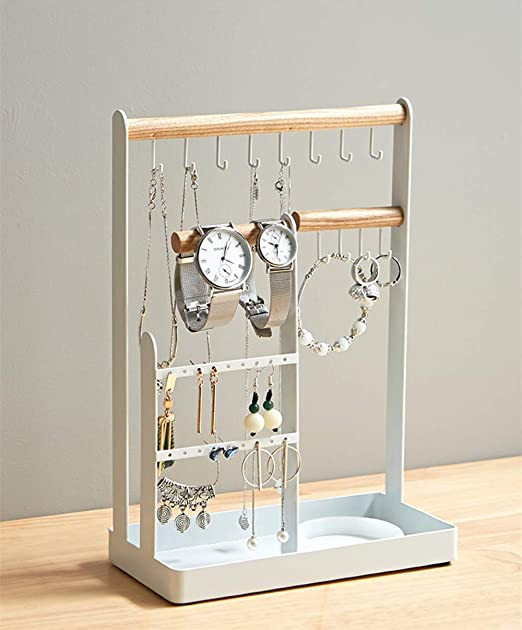 Amazon Com Zhenxiangc White Metal Jewelry Stand With Tray Earring Hanger Jewelry Holder Home Kitchen