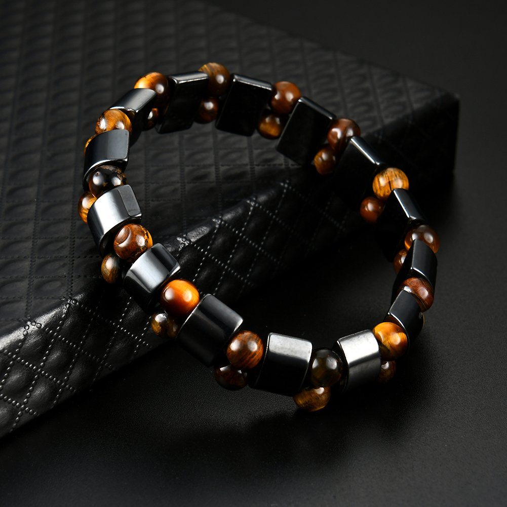 Snner H/ématite Bracelet /énergie Reiki Th/érapie magn/étique Bracelets Bangle de gu/érison Perles magn/étiques Double Couche /élastique Bracelet Force pour Hommes Femmes Noir