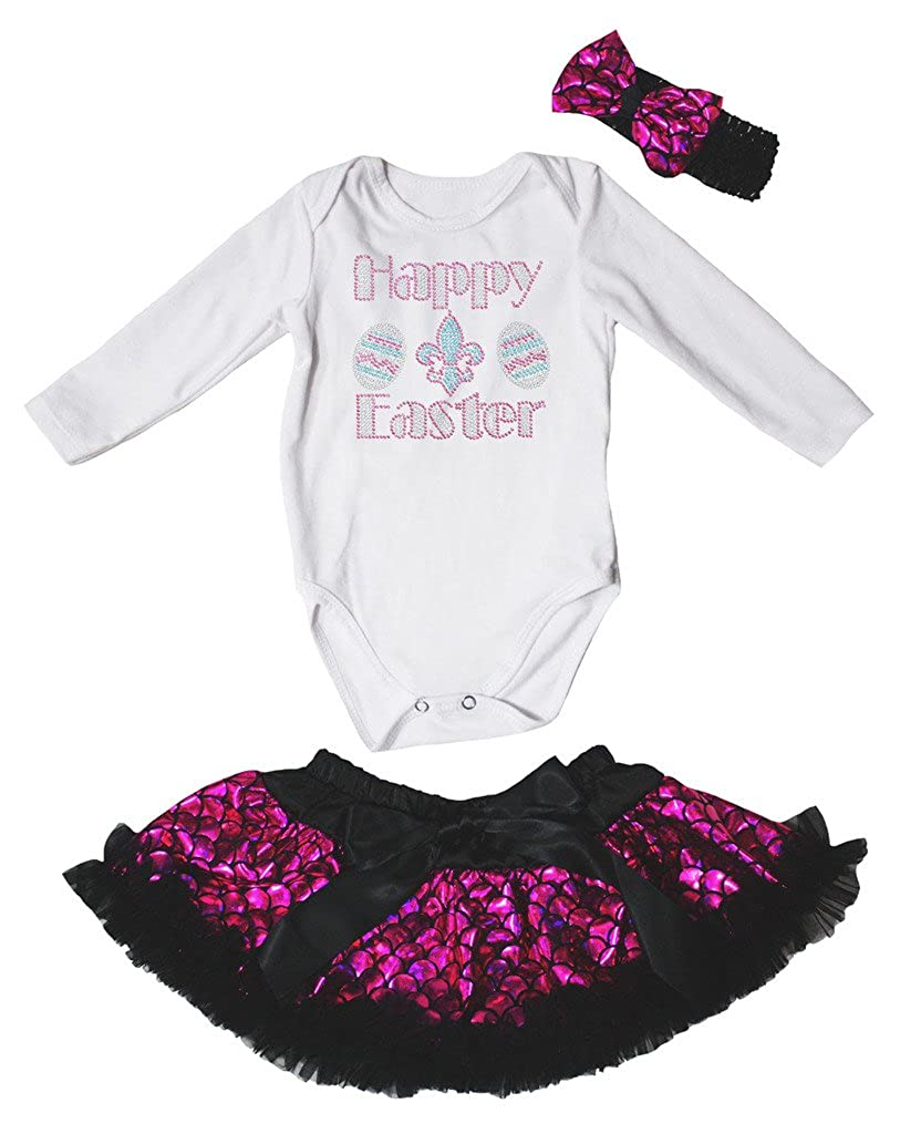 Petitebella Happy Easter White L//S Romper Hot Pink Scales Baby Skirt Nb-12m