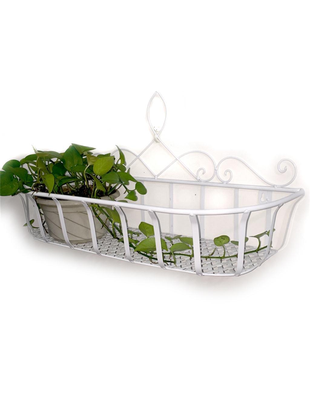 XYZ Continental Iron Wandbehang Flower Pot Regal, Balkon Blumenregal, Dekorative Pflanze Regal Empfindlich haltbar ( farbe : Weiß , größe : L )