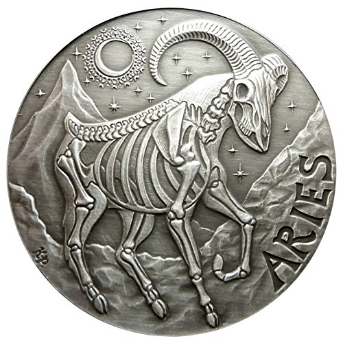 (SkullCoins ARIES - 2015 Memento Mori Zodiac Series #3 - 1 Oz Antique Finish Silver Round - Low Mintage of Only 500 Pieces)