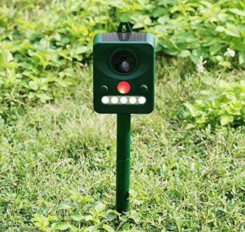 Muhoop Ultrasonic Animal Repellent Solar Bird Repeller Outdoor Waterproof Animal Deterrent Repel Cats, Dogs, Squirrels, Moles, Rats PIR Sensor LED Flashing Light Frequency Adjustable