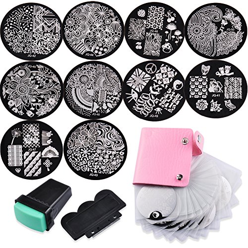 Biutee Nail Art Image Stamp Stamping Plates Manicure Template Bag with 10 Nail Plates, 1 Stamper and 1 Scraper