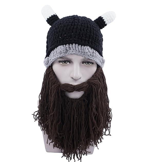 65d1a95ad3f MuNiSa Men s Viking Beard Mustache Knit Hat Barbarian Vagabond Beanie  Halloween Caps(Brown)