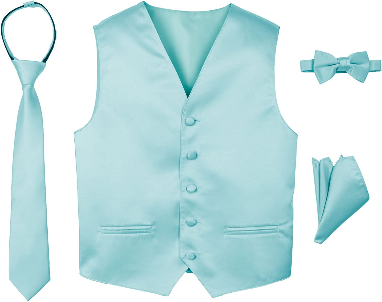 bowtie tie and hanky Boys 4pc Satin Vest Set including satin vest