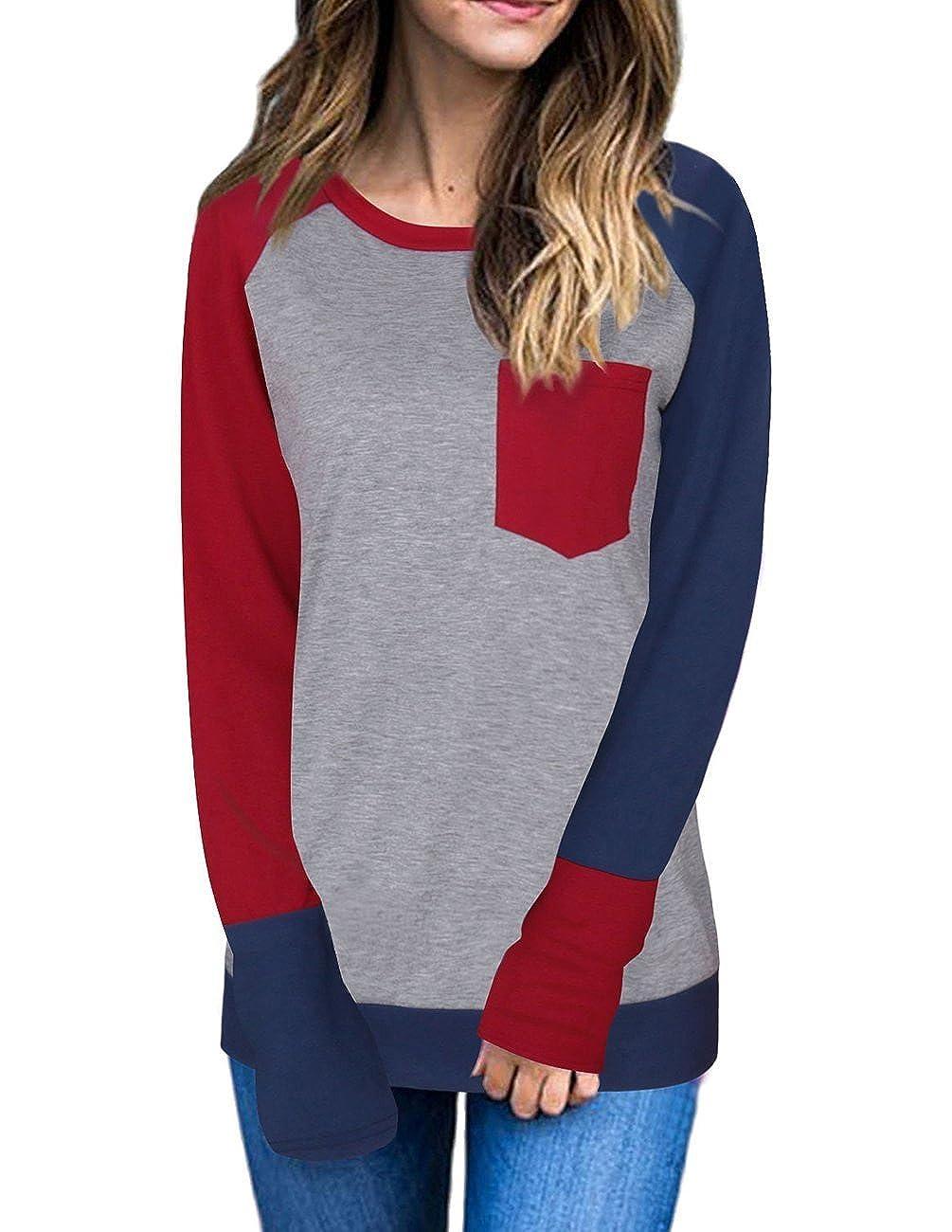 08151ce56aeb2 Style Womens Scoop Neck Contrast Top Long Sleeve Basic Casual Tunic Shirt  Tee. Features Raglan long sleeve shirt