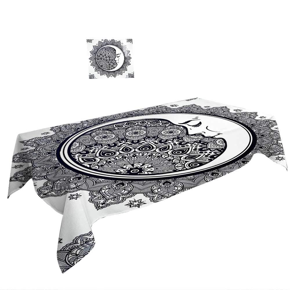 Warm Family Rectangular Table Cloth Zodiac Decor Intricate Boho Ethnic Mandala Form Crescent Moon on Foreground Alchemy Symbol ES Grey White.