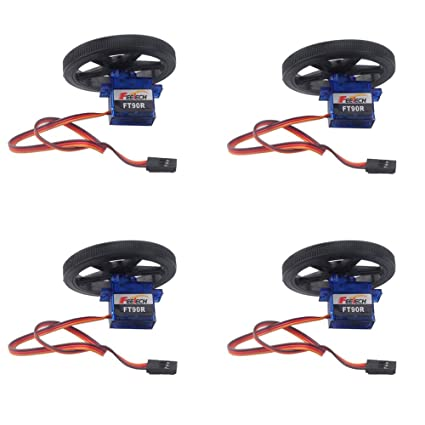 360 Degree Continuous Rotation Robotic Servo, 4 Sets Digital Servo Feetech  FT90R 360 Degree Continuous Rotation Micro RC Servo with Whell for Microbit