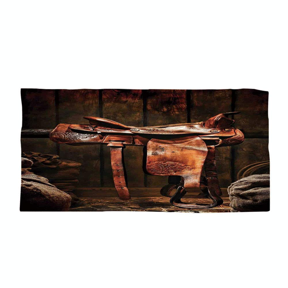 iPrint Cotton Microfiber Beach Towel,Western,American West Traditional Authentic Style Rodeo Cowboy Saddle Wood Ranch Barn Image,Dark Brown,for Kids, Teens, and Adults
