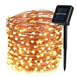 Icicle Solar Fairy String Lights, 66ft 200 LED Flexible Copper Wire Starry String Lights for Garden, Pergola, Backyard, Bush, Porch, Bedroom, Wedding, Indoor&Outdoor Decorations (Warm White)