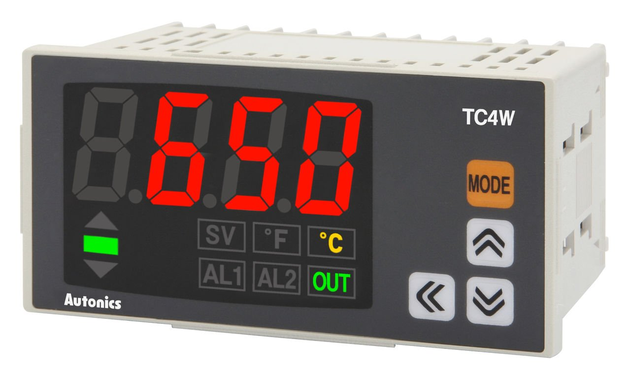 Autonics TC4W-N4R Temp Control, DIN W96 X H48mm, Single display 4 Digit, PID Control, Relay & SSR Output, No Alarm Output, 100-240 VAC by Autonics USA, Inc