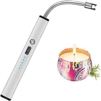Mechero de arco eléctrico recargable por USB, varita larga flexible para velas, camping, cocina, barbacoas, fuegos artificiales, gris