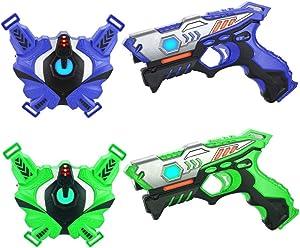 TINOTEEN Laser Tag Guns Set with Vests, Infrared Guns Set of 2 Players