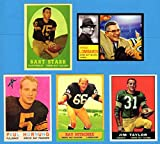 Green Bay Packers (5) Card Topps Reprint Lot featuring 1958 Bart Starr, 1959 Paul Hornung,1961 Jim Taylor, 1963 Ray Nitschke Rookie Plus a Special Vince Lombardi 1962 Topps Custom (That Never Was)