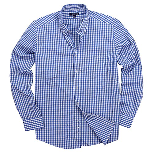 Men's Long Sleeve Button Down Stretch Fit Gingham Plaid Shirt (Sky Blue/White Big Checkered, X-Large)