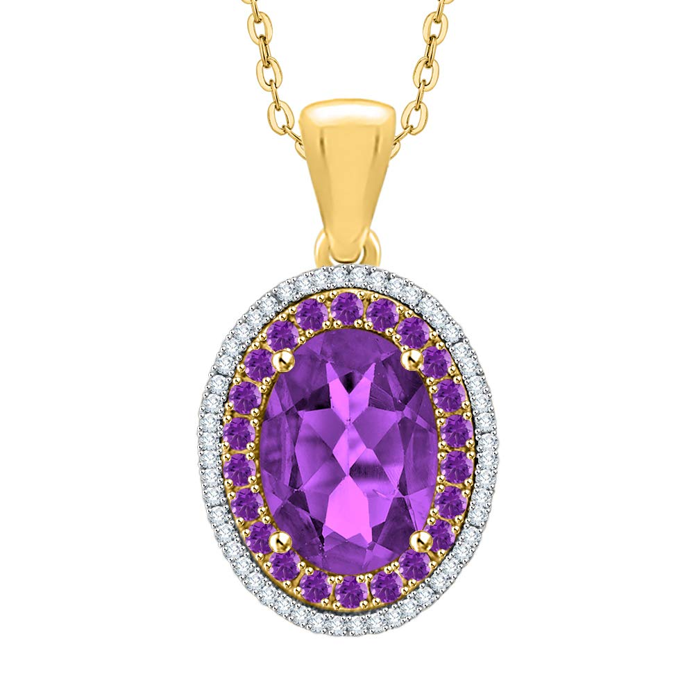 G-H//I2-I3 44002161A/_V 6 1//5 cttw KATARINA Diamond and Oval Cut Amethyst Pendant Necklace in Gold or Silver