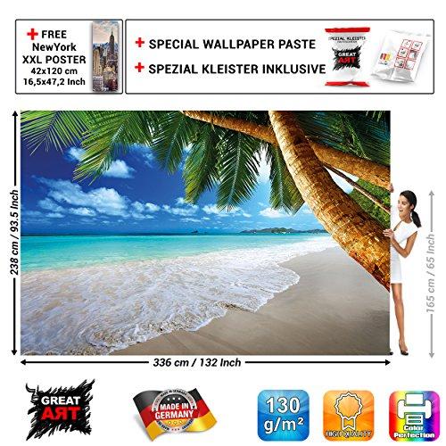 Fototapete Karibik Strand GREAT ART | Palm Beach Sonne Sommer Ferien Natur Meer Insel Paradies Urlaub | XXL Wanddeko Wandbild Wandtapete Poster Postertapete Bild Tapete Wand | 336 x 238 cm + Spezial Kleister