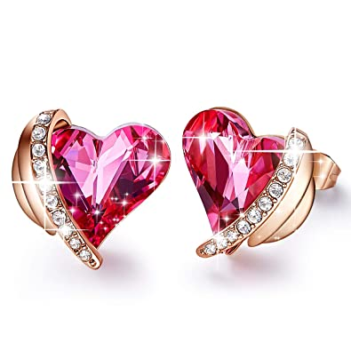 """d87b65c2e CDE""""Pink Angel 18K Rose Gold Plated Stud Earrings Embellished with  Crystals from Swarovski Heart"""