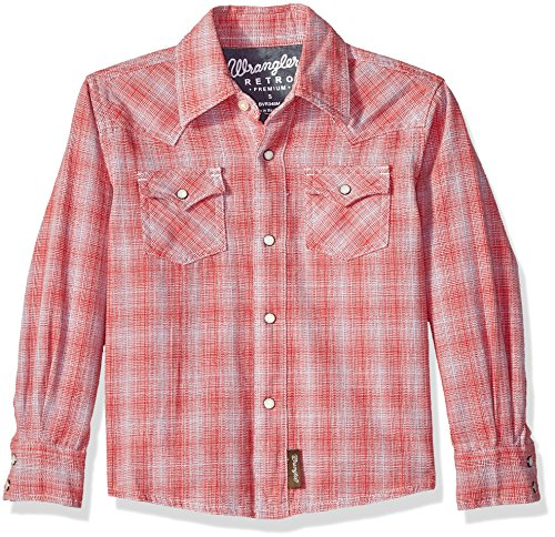 Wrangler Little Boys' Retro Long Sleeve Two Flap Pockets Snap Front Shirt,Red Assorted Plaid,S (Western Shirt Retro Snap)