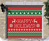 Outdoor Christmas Holiday Garage Door Banner Cover Mural Décoration - Ugly Christmas Sweater Happy Holidays - Outdoor Christmas Holiday Garage Door Banner Décor Sign 7'x8'