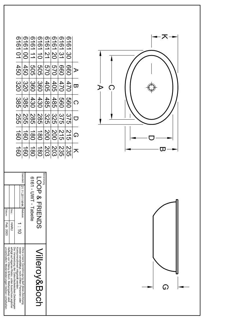 Villeroy /& Boch Unterbauwaschtisch Loop /& Friends 616110 420x285mm Wei/ß Alpin 61611001