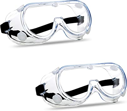 2 Pack Anti-Fog Protective Safety Goggles Scratch Resistance Safety Glasses Protective Eye Wear Clear Lens Wide-Vision Adjustable Splash Eye Protection Soft Lightweight