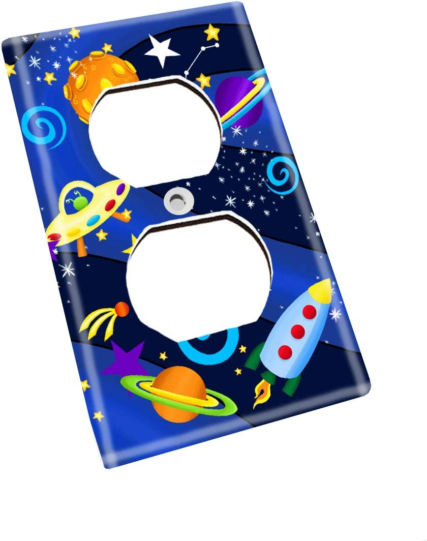 Outerspace Rocket Ship Boys Bedroom Light Switch Cover LS0037 Double Decora