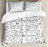 Money Queen Size Duvet Cover Set by Ambesonne, Monochrome Pattern with Euro Dollar Yen Symbols Coins Piggy Bank Stock Graphs Doodle, Decorative 3 Piece Bedding Set with 2 Pillow Shams, Black White