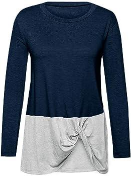 Tefamore Camiseta Blusa Manga Larga Mujer Hombro Frío Camisa Cuello Redondo Otoño Shirt Elegante Vintage Tops Casual Sweatshirt Básico in Algodón Side Twist Knot Pullover T-Shirt (Armada, S): Amazon.es: Ropa y accesorios