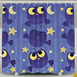 BINGO FLAG Funny Fabric Shower Curtain Little Owls With Moon And Star Waterproof Bathroom Decor With Hooks 60 X 72 Inch