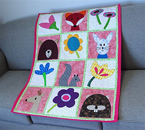Baby Quilt Woodland Animals and Wild Flowers by Cape Cod Sewing Creations