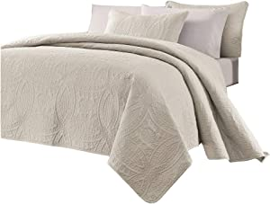 Chezmoi Collection Austin 3-Piece Oversized Bedspread Coverlet Set (Queen, Ivory)