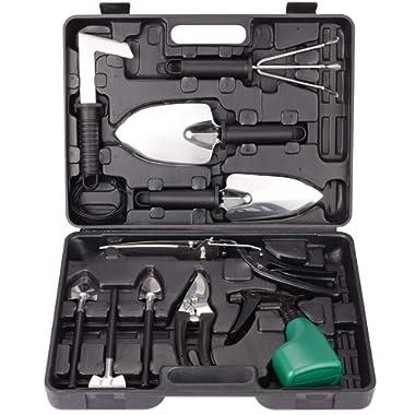 BNCHI Gardening Tools Set,Portable 12 Pieces Stainless Steel Garden Tool Sets,Gardening Gifts for Women,Men (Black)