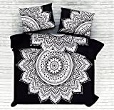 4 PC Set Doona Bedding Boho Indian Black And White Big Flower Ombre Mandala Duvet Cover Reversible Doona Cover with 1 pc Tapestry Queen Size Bedsheet Elephant Mandala Wall Hanging Beach Throw & Pillow