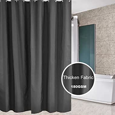 Eforcurtain Heavy Duty Shower Curtain 100% Polyester Fabric Mildew Resistant Waterproof, Solid Color Bath Curtains for Bathroom, Dark Gray, 72 x 78 Inches Extra Long