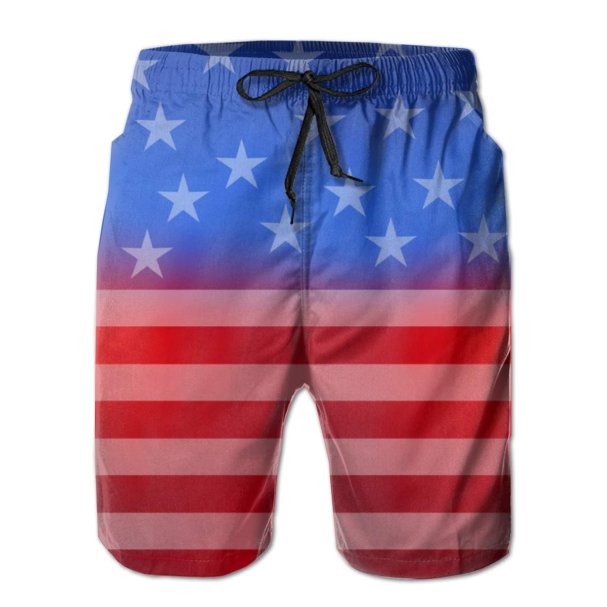 HANINPZ Abstract American Flag for 4th of July Mens Swim Trunks Beach Short Board Shorts
