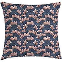 Flowers Throw Pillow Cushion Cover by Ambesonne, Pattern with Magnolia Flowers in Japanese Style Tender Asian Nature Garden, Decorative Square Accent Pillow Case, 28 X 28 Inches, Dark Blue Coral