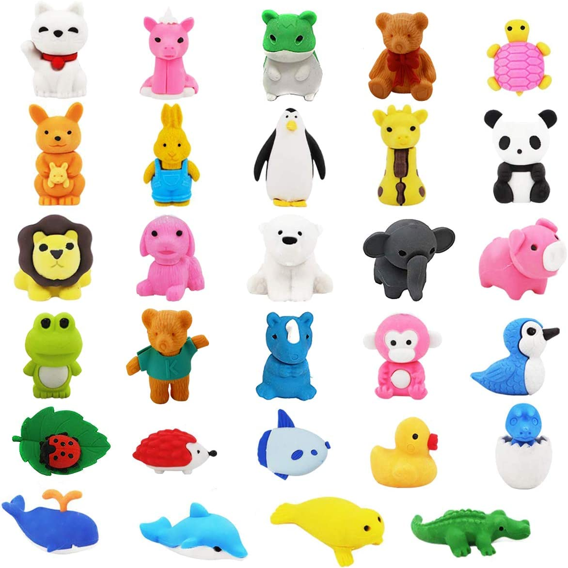 LanMa Pencil Erasers Zoo Animals Erasers Non-Toxic Take Apart Erasers for Classroom Prizes Party Gifts - 32Pack