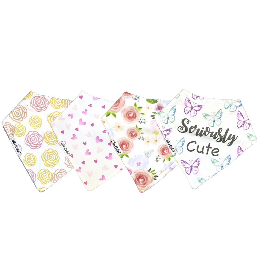 Bandana Drool Bibs for Baby Girls 4-Pack Floral | Organic Cotton | Extra Absorbent | Adjustable with Snap Buttons | Best Gift Set for Drooling, Teething Babies & Toddlers | Hypoallergenic Sho Cute