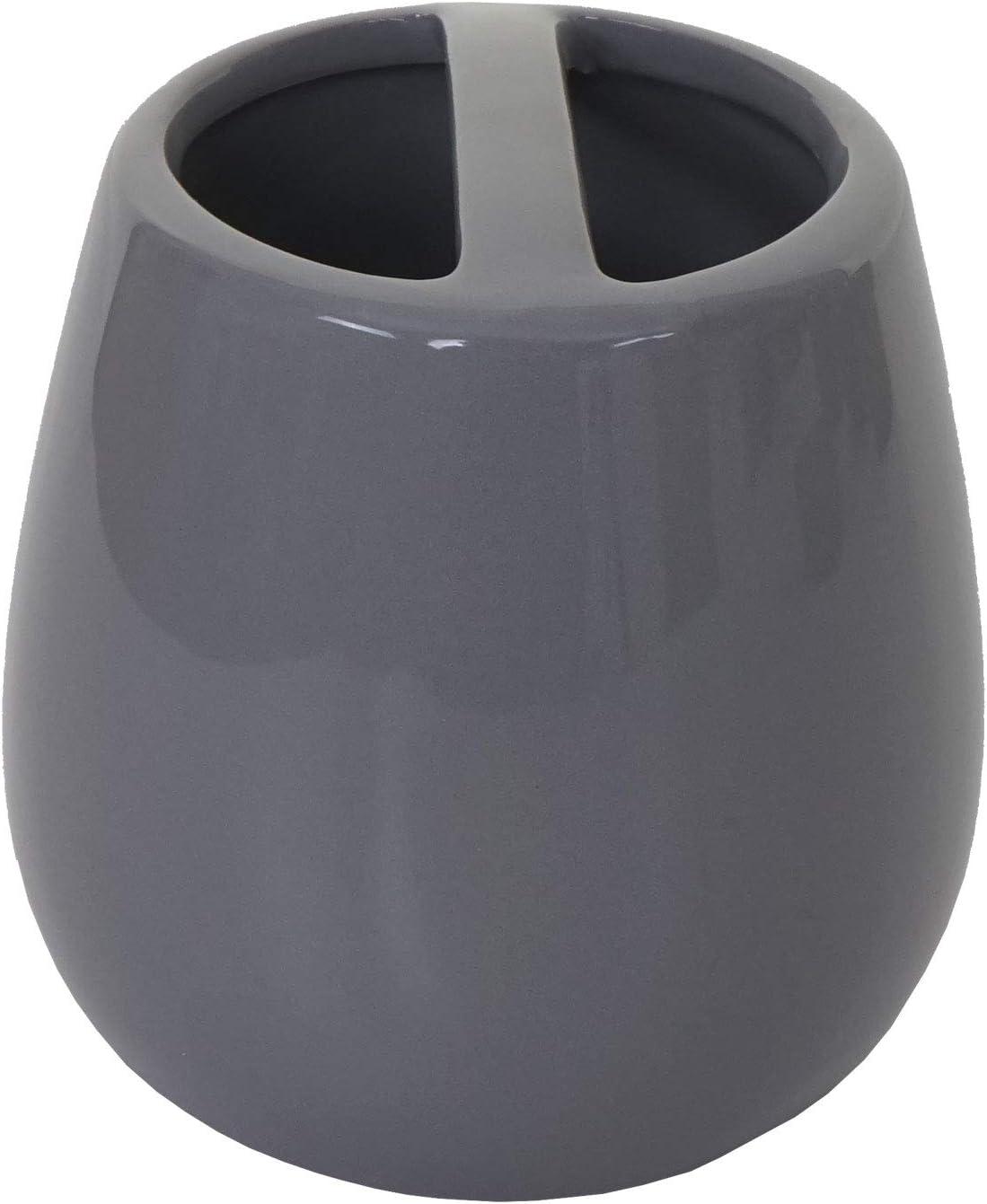 WC-Garnitur Badezimmerset Badaccessoires Mendler 5-teiliges Badset HWC-C72 Keramik ~ grau