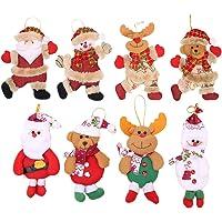 Flysee 8Piezas Adornos árbol Navidad Colgantes Muñecos Papá Noel Ornamentos de Navidad Decoración Fiesta Regalo Adornos…
