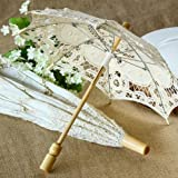 Antiqued Battenburg Lace Parasol - Small Ivory