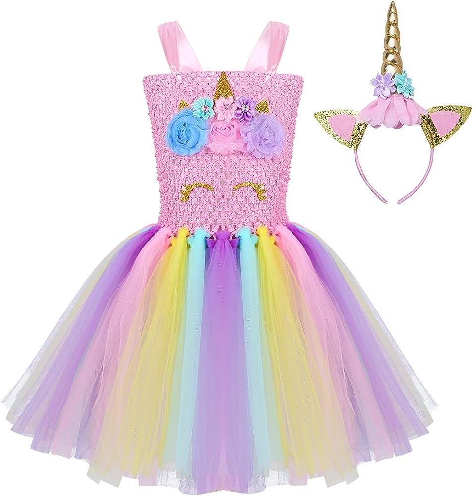 dPois Vestido de Unicornio Fiesta Boda Niña Tutu Princesa Disfraz ...