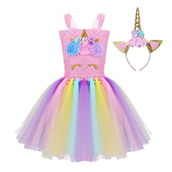 iiniim Vestido Niña Princesa con Diadema Vestido Flor Unicornio Disfraz Conjunto Tutú Falda Tiara Arco Iris Traje de Cosplay Halloween Fiesta Carnaval ...