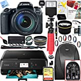 Canon EOS 77D 24.2 MP DSLR Camera Wi-Fi & Bluetooth with EF-S 18-55mm IS STM Lens (1892C016) and Canon Pixma MG3620 Wireless Inkjet All-In-One Multifunction Photo Printer 64GB Accessory Bundle