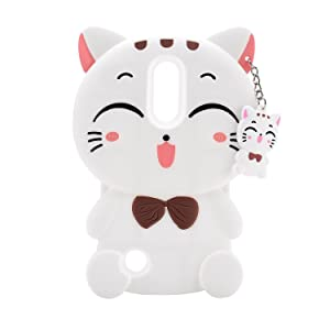 Mulafnxal White Lucky Cat Case for LG Aristo 2,3D Soft Silicone Tribute Dynasty/K8 2018 2017//K4 2017 MS210n Cases,Cute Kids Girls Cartoon Cover,Kawaii Animal Character Rubber Protector for LG Phoenix