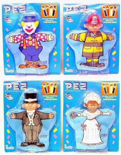 Fireman Hand Puppet - Set of 4 PEZ Hand Puppets Bride Groom Clown Fireman