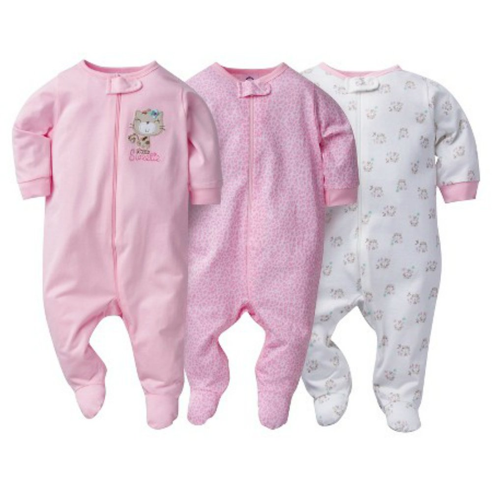 1a2d4cabc8 Galleon - Gerber Onesies Baby Girl Sleep N  Play Sleepers 3 Pack (3-6 Months