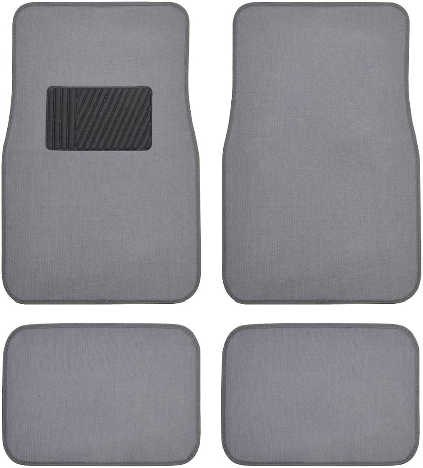 BDK Classic Carpet Floor Mats for Car & Auto - Universal Fit -Front & Rear withHeelpad (Light Gray) - 58310
