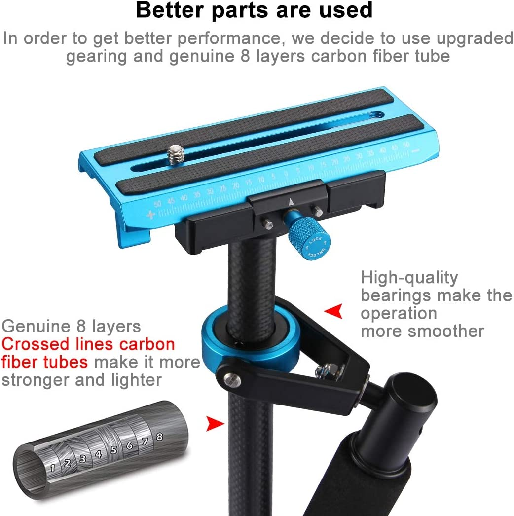 Hyx 38.5-61cm Carbon Fibre Handheld Stabilizer for DSLR /& DV Digital Video /& Cameras 0.5-3kg Camera Parts Accessories Load Range Color : Black